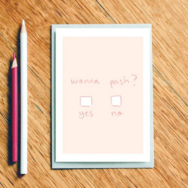 Wanna Pash? Valentine's Day Card by Milk & Cookies