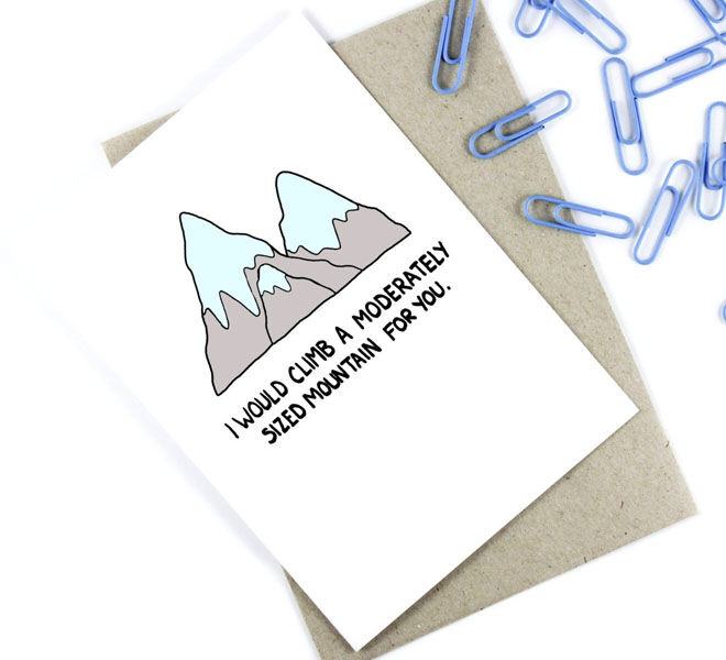 I'd Climb Mountains Valentine's Day Card by Post Love Designs