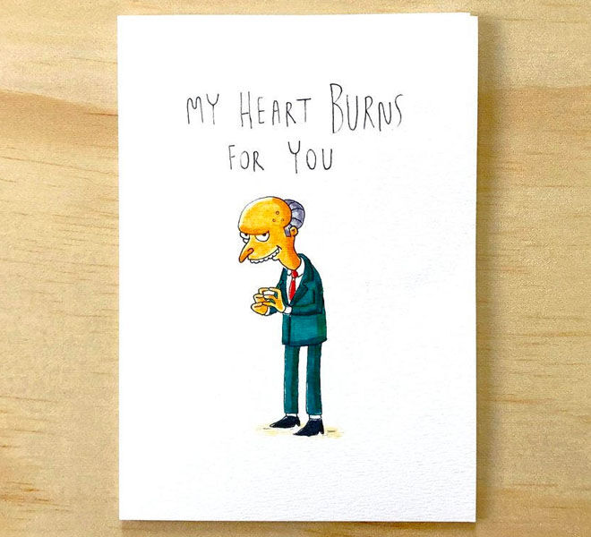 Mr Burns Valentine's Day Card by Well Drawn Cards