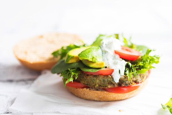Lentil burger for the school lunch box