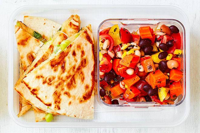 Lunch box quesadillas and salsa