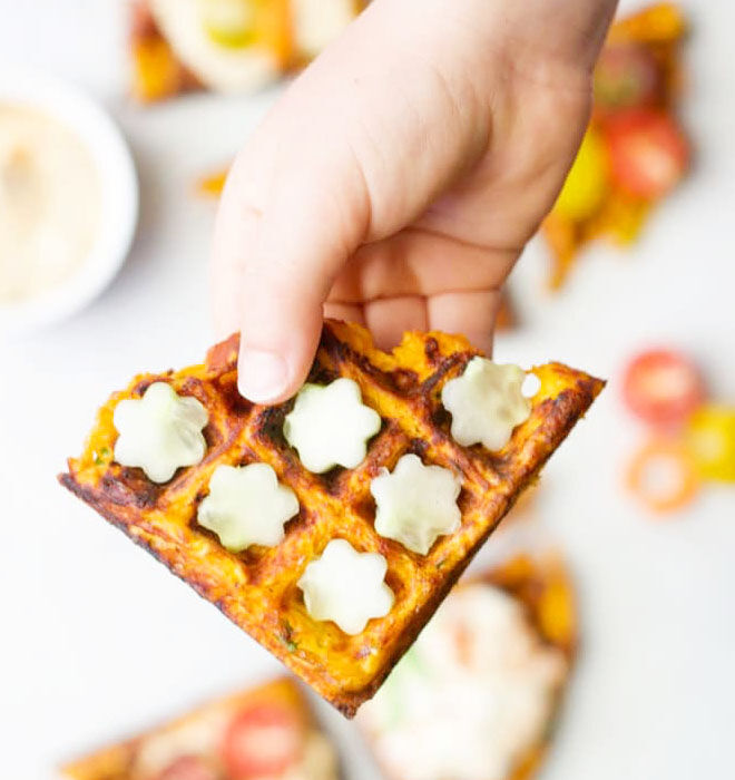 Savoury waffles for the school lunch box