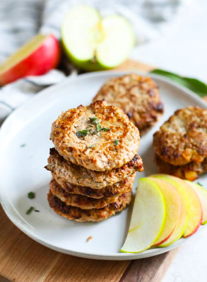 Turkey and apple sausage patties for the lunch box