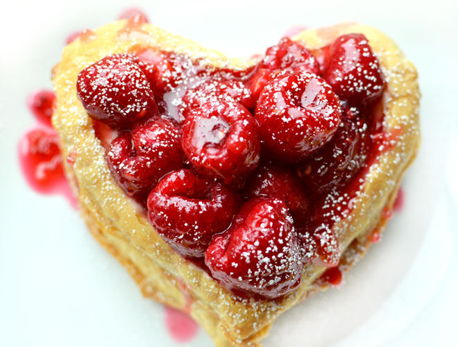 Heart-shaped raspberry napoleon for Valentine's Day