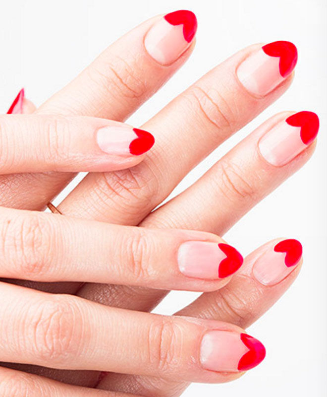 Love heart Valentine's nails