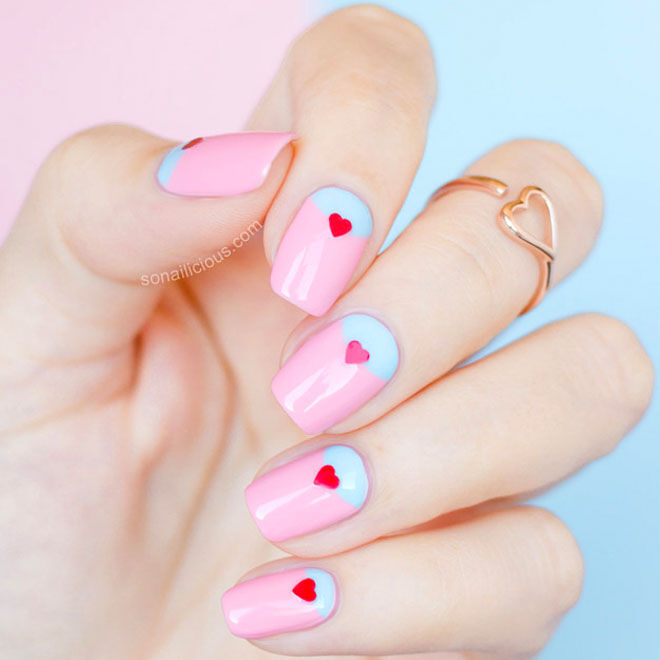 Pink and baby blue Valentine's nails