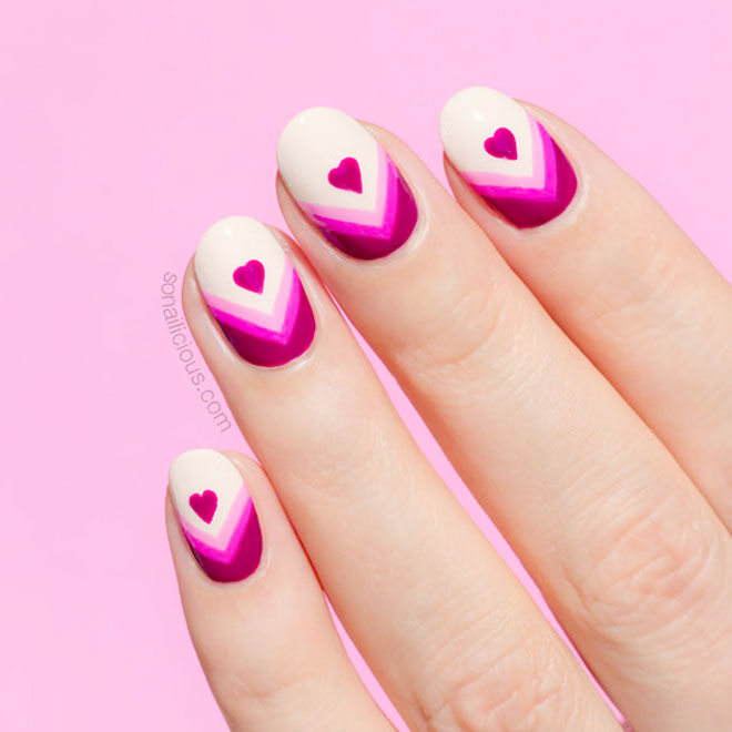 Valentine's nails with purple and white chevrons