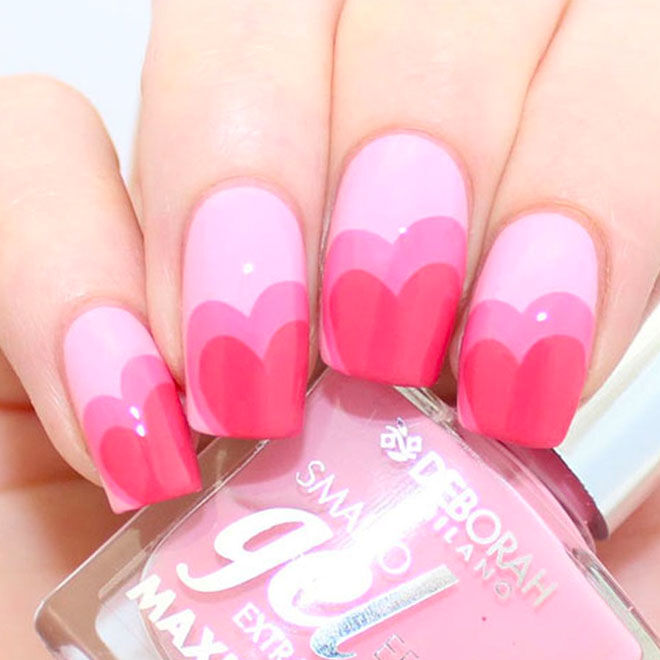 Do three shades of pink with these Valentine's nails