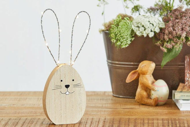Wooden rabbit with LED ears, Bed Bath N' Table