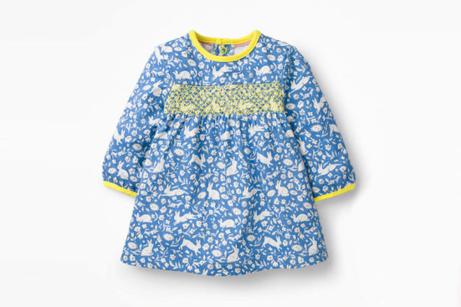 Smocked jersey dress with bunny print, Boden