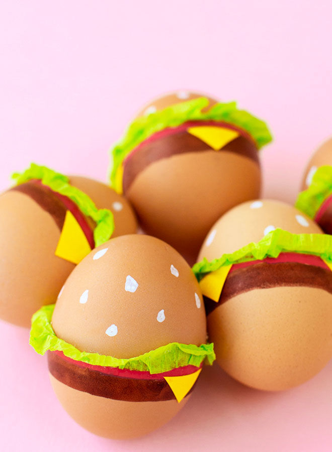 Burger Easter egg decorating idea