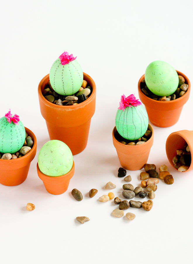 Cactus Easter egg decorating idea