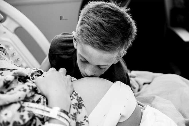 Brother waiting for birth photo