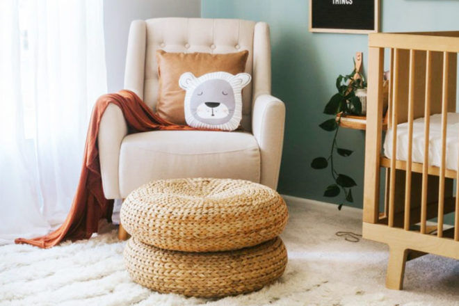 Feeding space for baby in boho style nursery