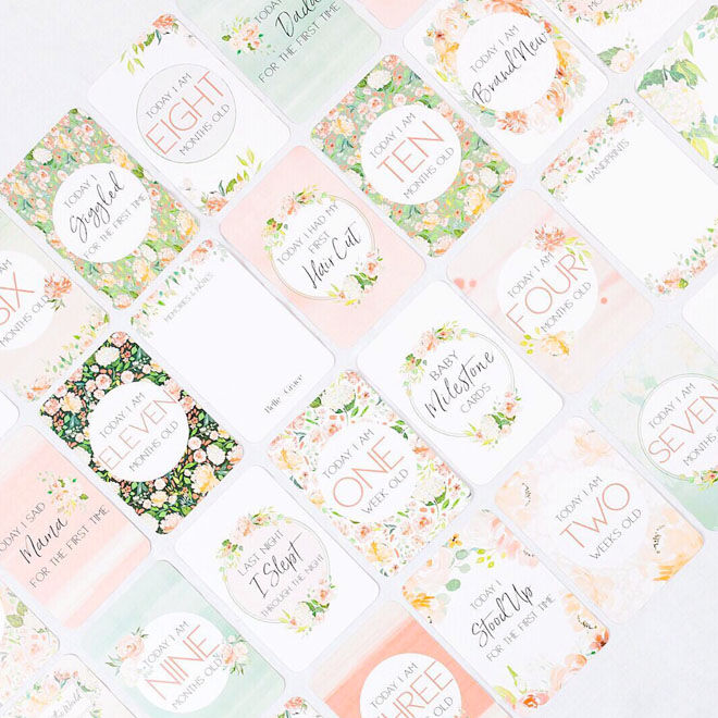 32 floral pregnancy milestone cards by Bell & Grace Boutique