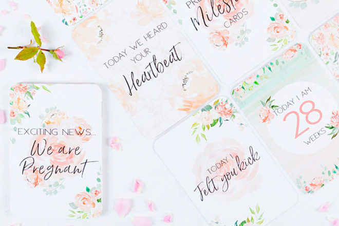 Floral pregnancy milestone cards by Bell & Grace Boutique