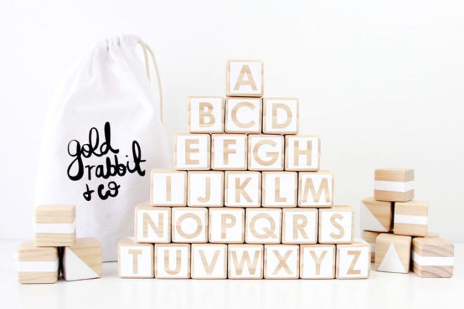 Gold Rabbit Co Wooden Stacking Alphabet Blocks