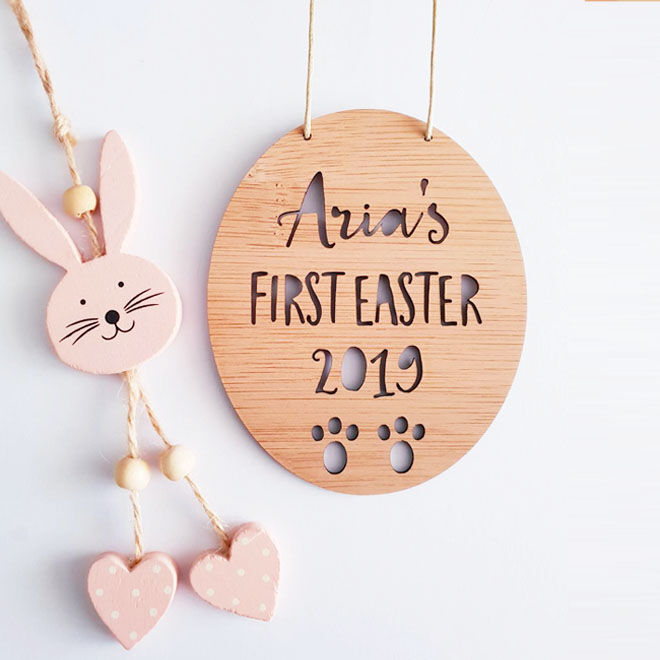 Personalised first Easter wall hanging, Little Birdy Finds