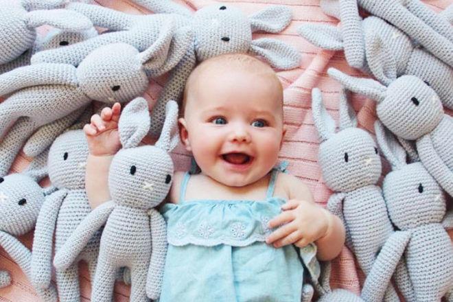Crochet bunny, Little Pink Canary