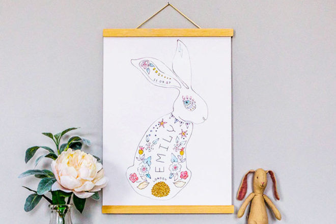 Personalised rabbit print, Little Ragsmith
