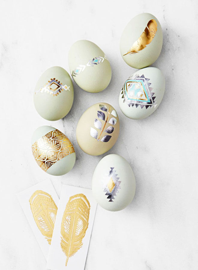 Metallic tattoo Easter eggs