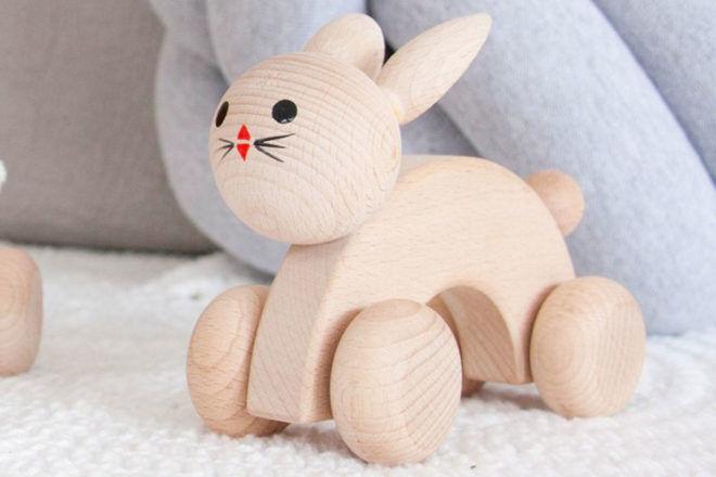 Wooden push along rabbit, Miva Vacov