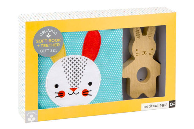 Bunny soft book and teether set, Petit Collage
