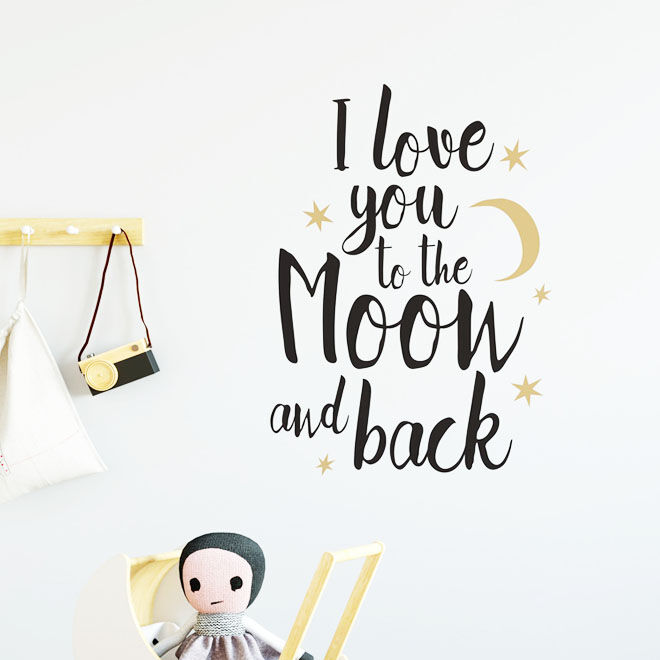Nursery Wall Stickers, I love you to the moon and back