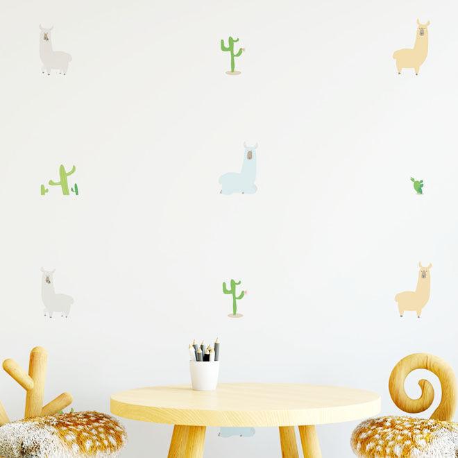 Nursery Wall Stickers, pastel llamas and cacti