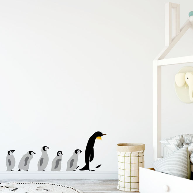 Nursery Wall Stickers, a cute penguin family