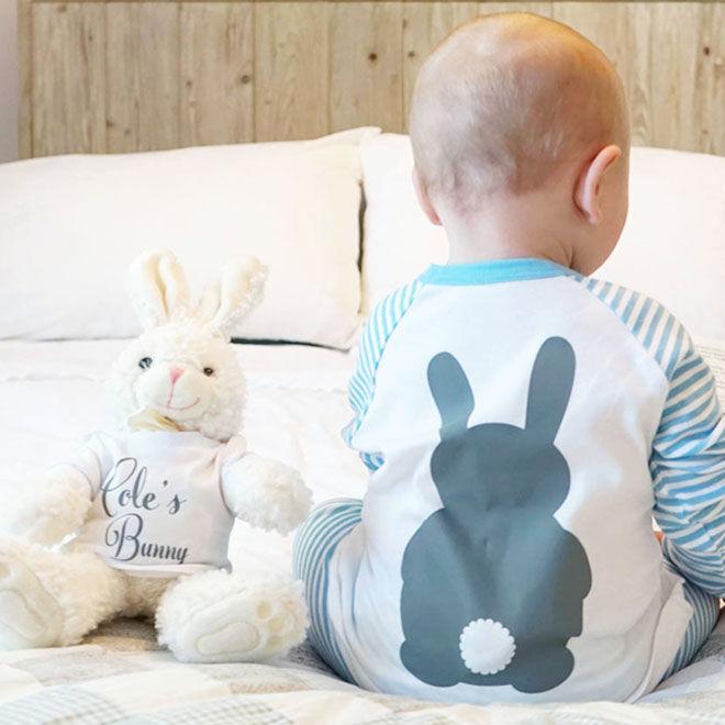 Personalised baby pyjamas and bunny pyjamas, Sparks & Daughters