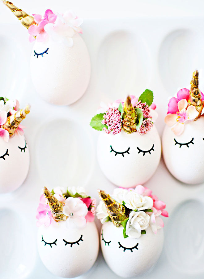 Unicorn Easter egg decorating idea