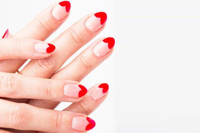 Valentine's Day nail polish heart tips