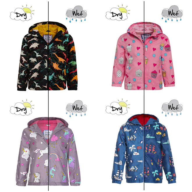 Colour changing raincoats by Holly & Beau