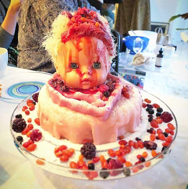 Doll baby shower cake