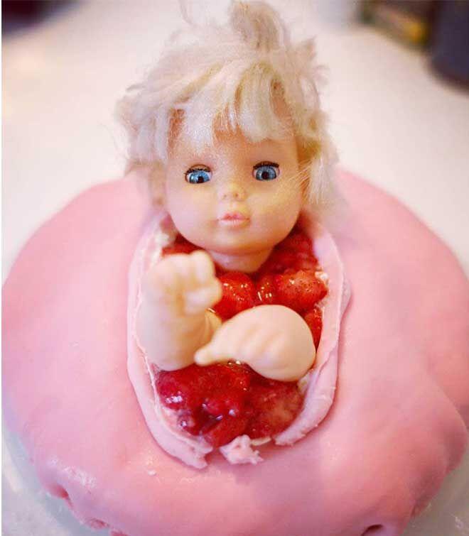 Horror baby shower cake