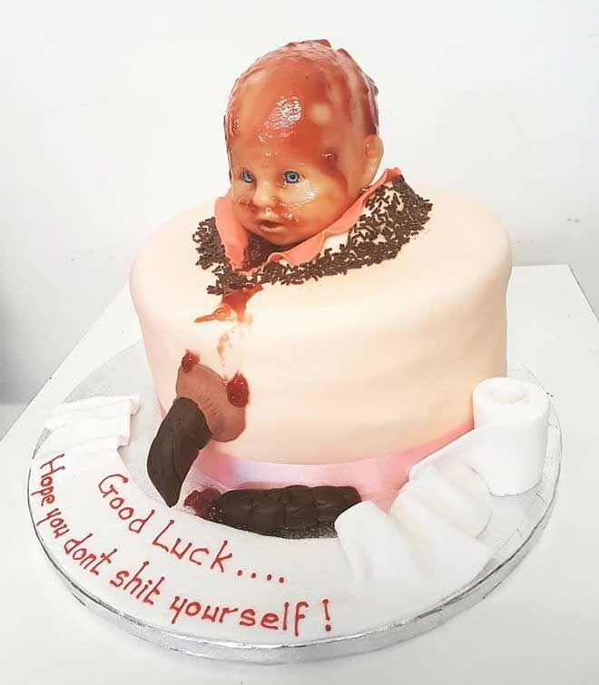 Poo baby shower cake