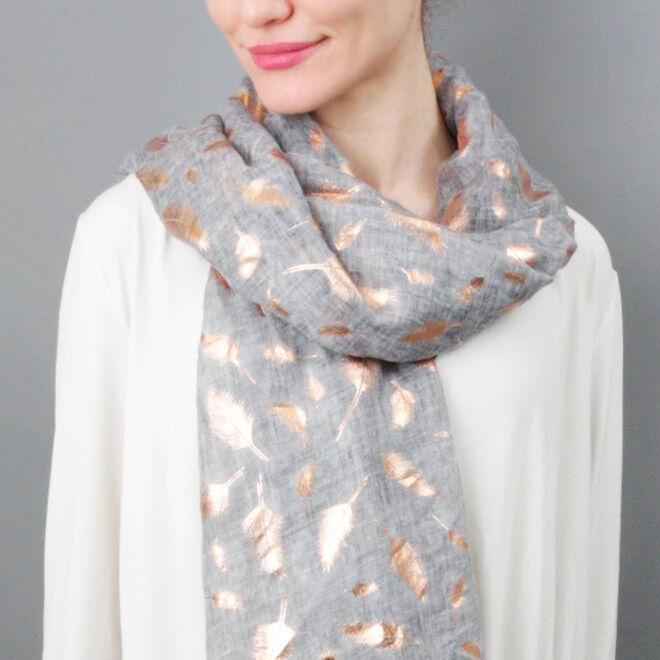 Feather foil print scarf, Studio Hop