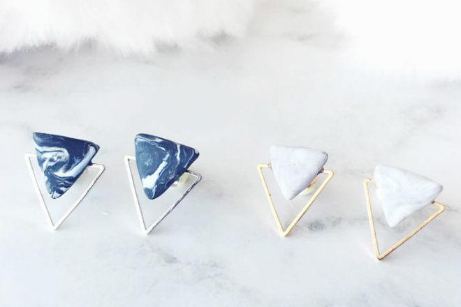 Marble triangle earrings, Minerva Belle