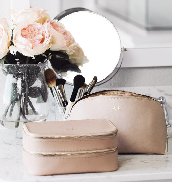 Taupe personalised cosmetics case, The Daily Edited