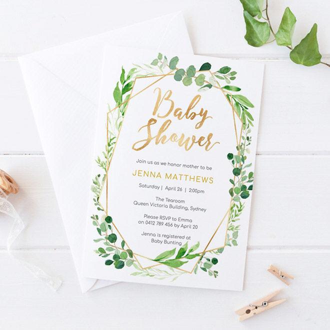 Boho baby shower invites, Mini Moi Prints