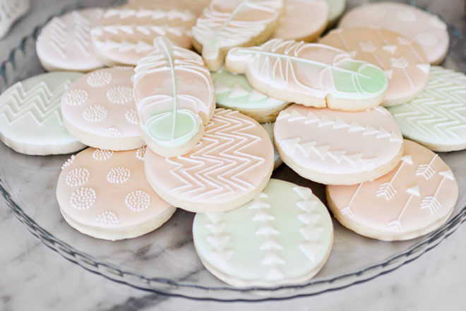 Boho baby shower cookies