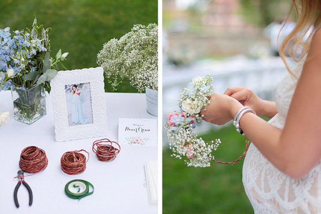 Boho baby shower game: make your own flower crown