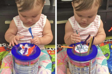 Formula tin baby play hack