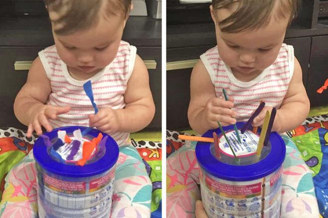 Formula tin baby play hack