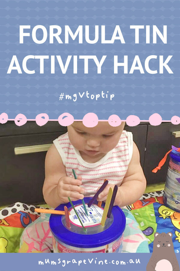 Formula tin hack for easy baby play activity