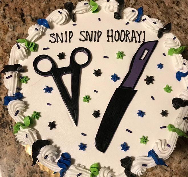 Snip snip vasectomy cake