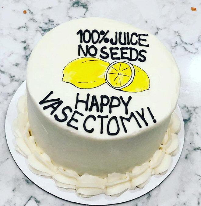 Vasectomy cake lemon