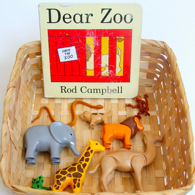 Jungle first birthday party game idea - a storytime basket