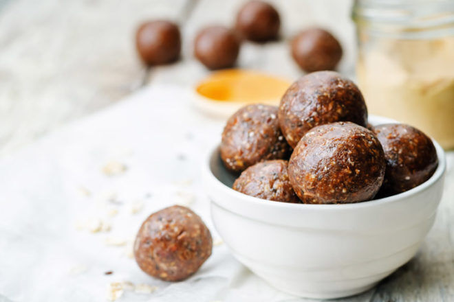 Choc tahini bites are a great energy-boosting snack for labour
